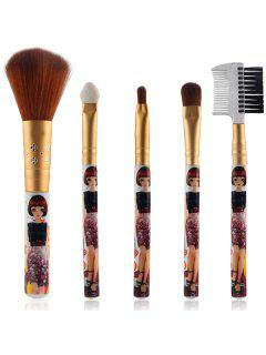 5 Pcs Nylon Makeup Brushes Set - Golden