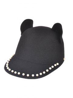 Adjustable Outdoor Faux Pearls Cat's Ear Equestrian Hat - Black