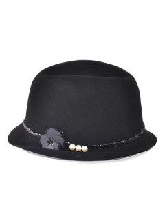 Wool Flower Faux Pearls Belt Fedora Cap - Black