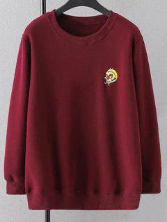 Plus Size Embroidered Crew Neck Sweatshirt - Wine Red Xl