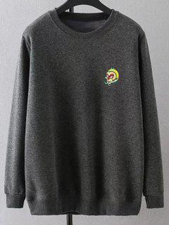 Plus Size Gestickte Sweatshirt Mit Rundhalsausschnitt - Grau Xl