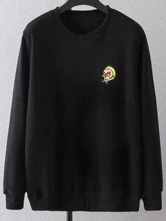 Más El Tamaño De Bordado Con Cuello Redondo De La Camiseta - Negro Xl