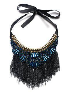 Bohemian Alloy Beads Geometric Necklace - Deep Blue