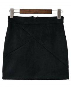 Mini Faux Suede Skirt - Black S
