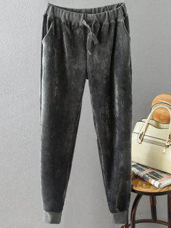 Drawstring Flocking Plus Size Pants - Gray Xl
