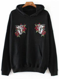 Pink Panther Embroidered Hoodie - Black S