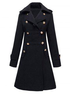 Woolen Double-Breasted Coat - Black Xl