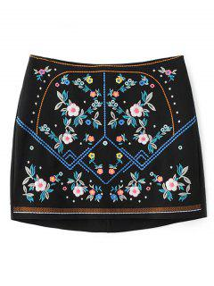 Floral Embroidered Sheathy Mini Skirt - Black M