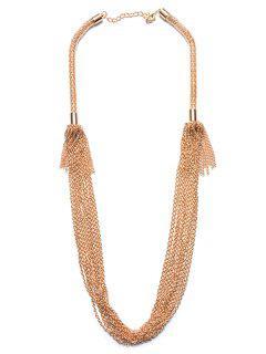 Chain Tassel Drape Necklace - Champagne