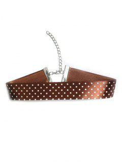 Polka Dot Pattern Choker - Brown