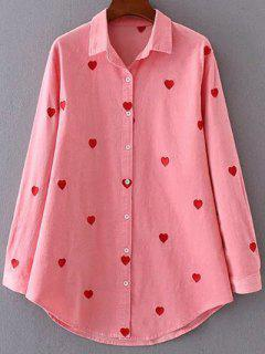 Heart Embroidered Corduroy Shirt - Pink M