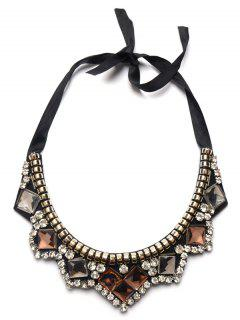 Rhinestone Faux Gemstone Geometric Necklace - Brown