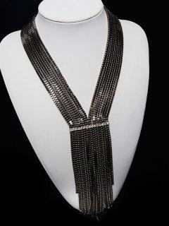 Tiered Box Chain Necklace - Gun Metal