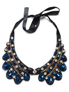 Faux Sapphire Water Drop Rhinestone Necklace - Blue