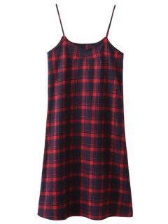 Robe De Longueur Mi-mollet à Motif De Plaid En Tartan à Bretelles - Plaid S