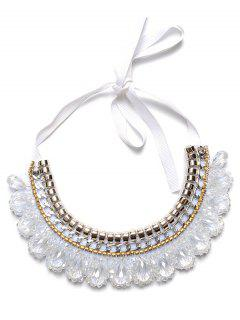 Artificial Gem Water Drop Necklace - White