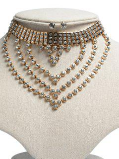 Rhinestone Layered Jewelry Set - Golden
