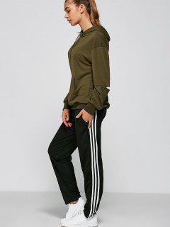 Black And White Striped Gym Pants - Black M