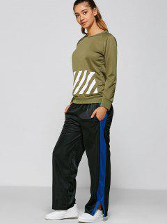 Color Block Slit Sport Pants - Noir M