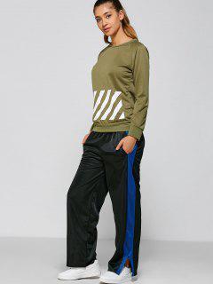 Color Block Slit Sports Pants - Black M