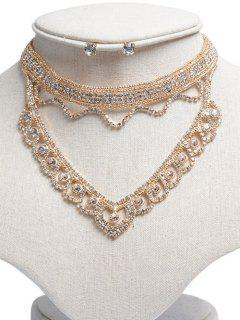 Hollowed Rhinestone Jewelry Set - Golden