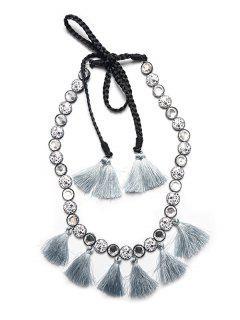 Rhinestone Tassel Necklace - Gray