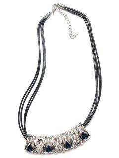Embellished Teardrop Massive Necklace - Silver