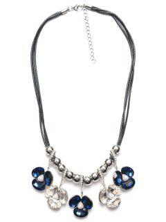 Faux Pearl Poppy Flower Necklace - Sapphire Blue