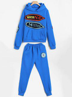 Graphic Patched Hoodie And Pants Gym Suits - Blue Xl