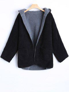 Hooded Cashmere Double Side Overcoat - Black 2xl