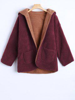 Hooded Cashmere Double Side Overcoat - Wine Red S