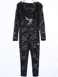See-Through Jumpsuit - Noir L