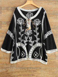Floral Embroidered Lace Up Top - Black