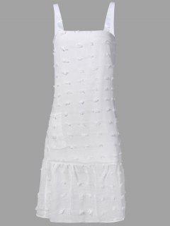 Stereo Flower Midi Straps Dress - White S