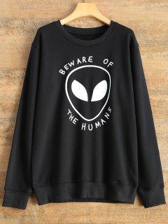 Alien Letter Sweatshirt - Black L