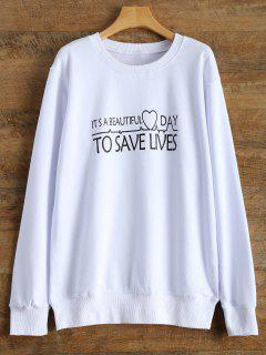 Casual Letter Sweatshirt - White S