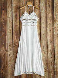 Crochet Insert Halter Dress - White S