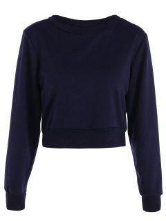 Casual Sports Cropped Sweatshirt - Purplish Blue Xs