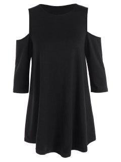 Loose Cold Shoulder T-Shirt - Black M