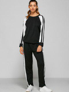 Pants And Raglan Sleeves Striped Sweatshirt - Black Xl