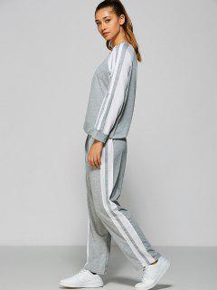 Pants And Raglan Sleeves Striped Sweatshirt - Gray L