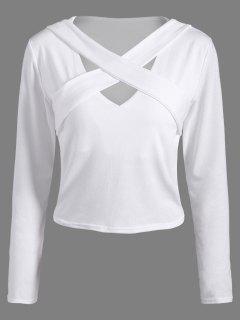 Criss-Cross Cropped T-Shirt - White M