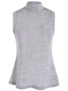 High Collar Slit Back Sleeveless Sweater - Gray L