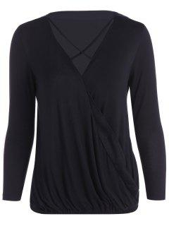 Strappy V Neck Surplice T-Shirt - Black M
