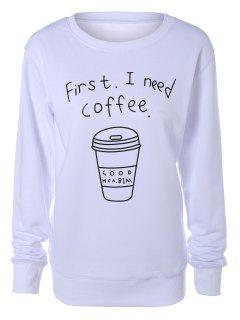 Coffee Cup Letter Sweatshirt - White L