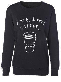 Coffee Cup Letter Sweatshirt - Black M