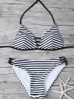 Stripes Halter Cutout Bikini - White And Black L