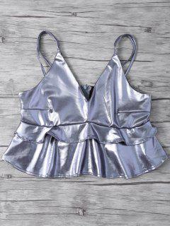 Metallic-Farb Crop Top - Silber S
