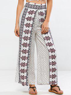 High Rise Impreso Pantalones Palazzo - Blanco S