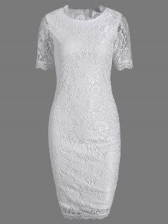 Lace Short Sleeve Long Sheath Tight Dress - White M
